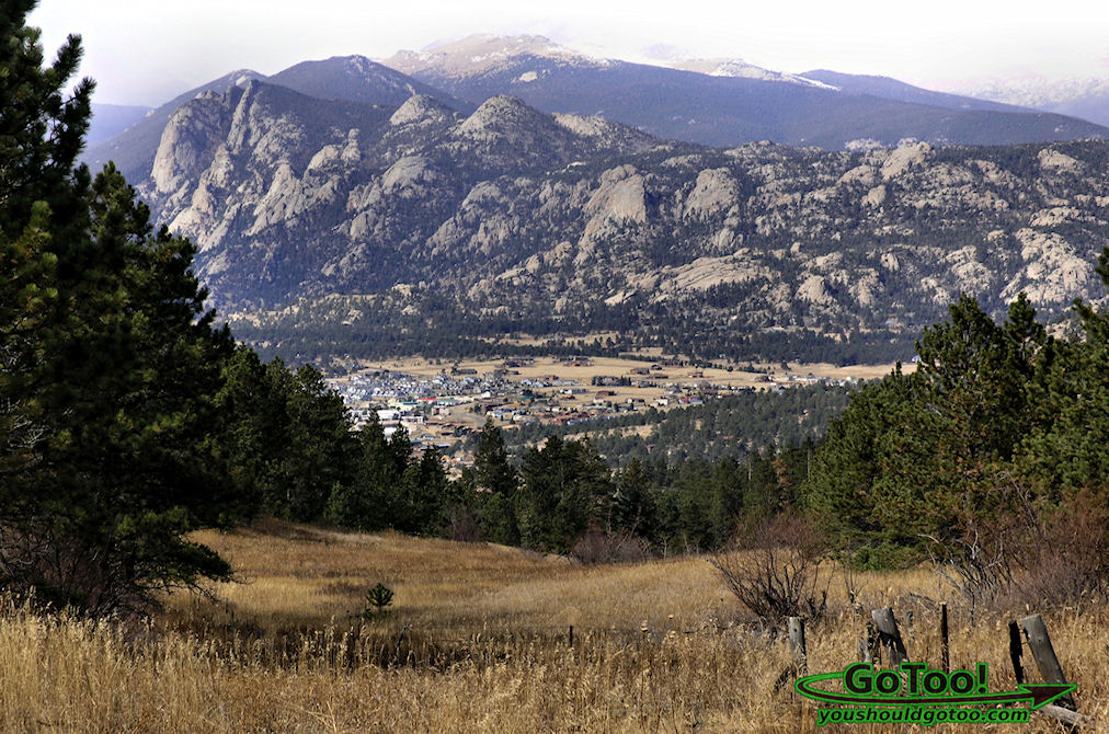 View of Estes Park and the Rocky Mountains