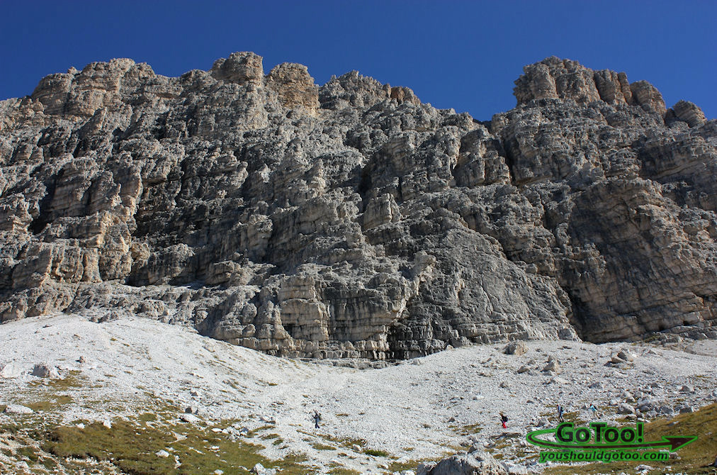 Hikers in front of the Dolomites Italy