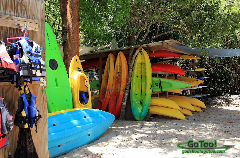 Colorful kayaks for rent at Cinnamon Bay St John