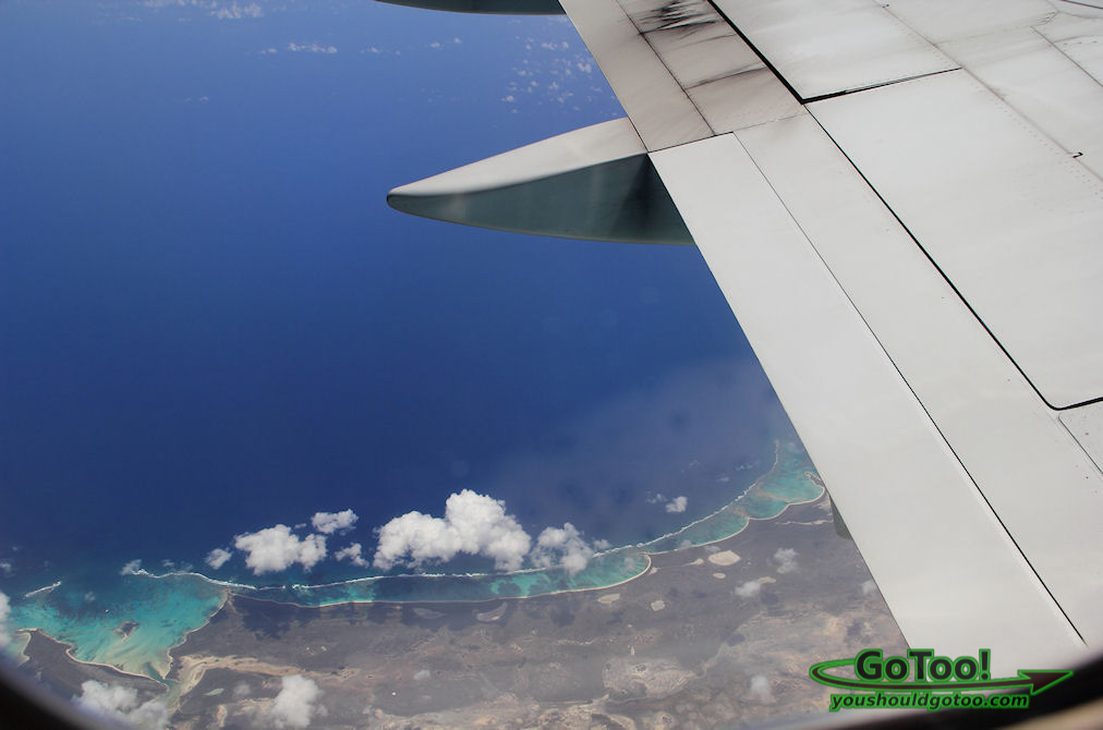 Flying over Caribbean Islands