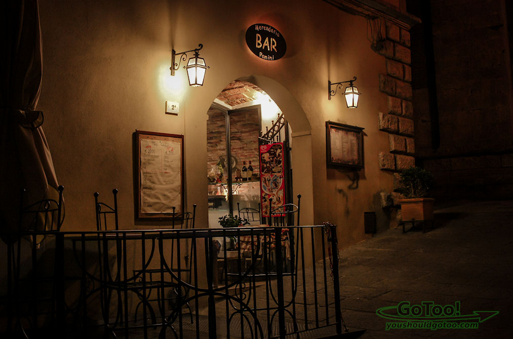 Montepulciano Italy Cafe at Night