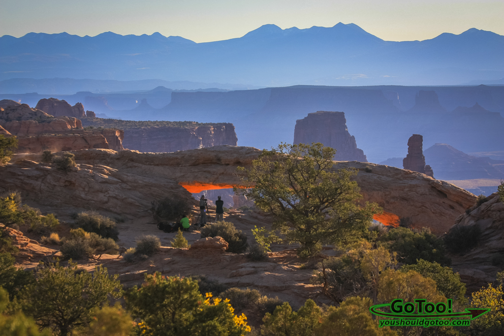 View of Mesa Arch and La Sal Mountains Canyonlands Utah