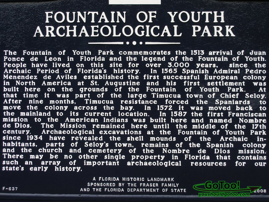 Landmark Sign Fountain of Youth Archaeological Park St Augustine Florida