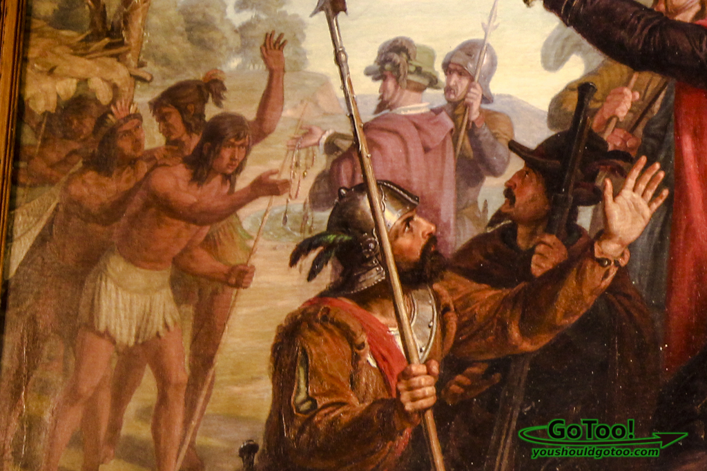 Painting-Depicting-Early-Spanish-Explorers-Trading