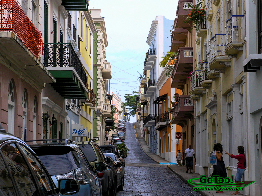 Colorful Steep streets Old San Juan PR