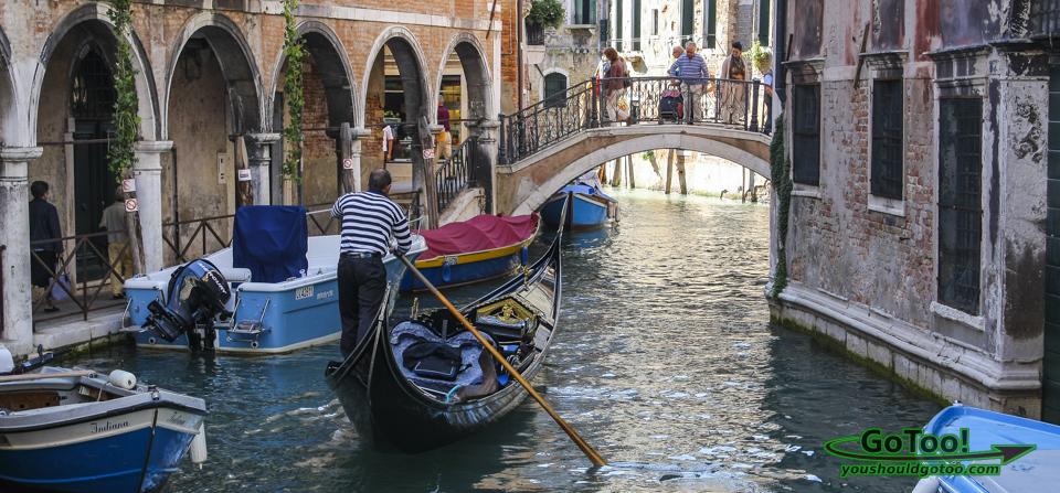 Gondolier Venice Canal Bridge