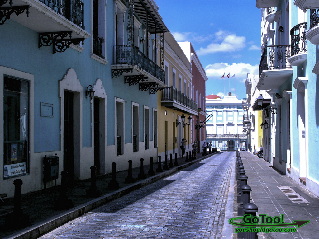 Narrow cobblestone paved street Old San Juan PR