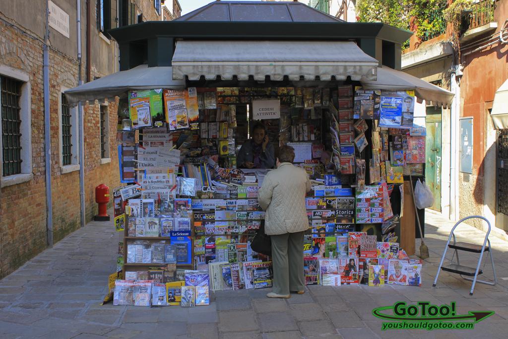 Newspaper Magazine Stand Venice Italy