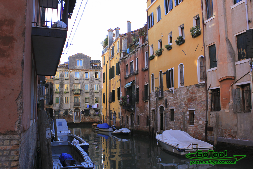 Small Canal Boats Colorful Buildings Venice Italy