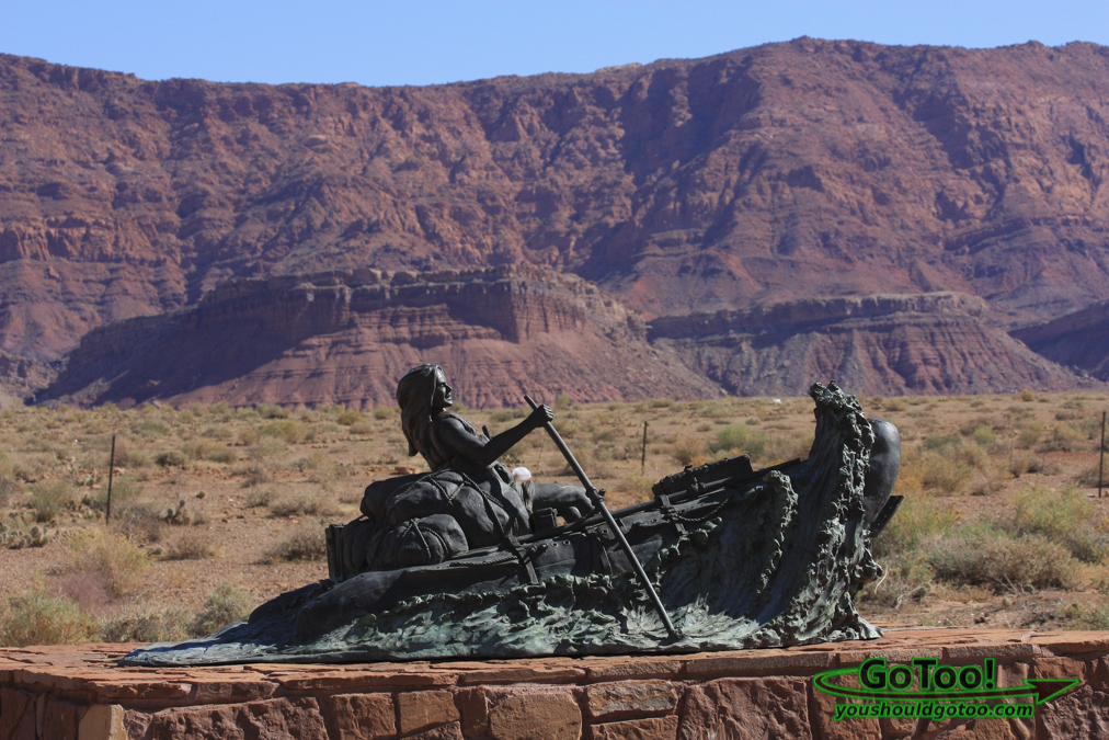 Rafting Woman Bronze Statue Near Lees Ferry Arizona