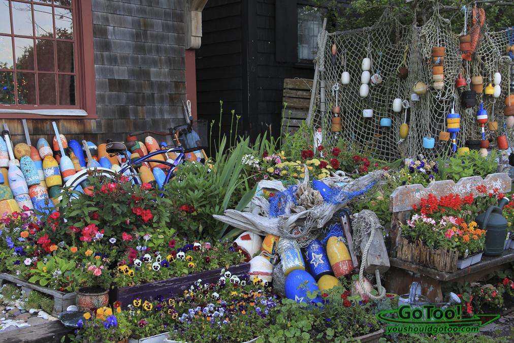 Buoys Nets and Flowers Rockport MA
