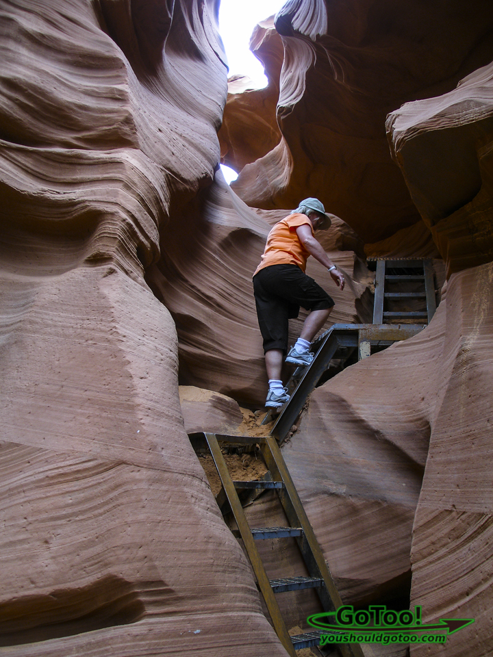 Climb Metal Stairs In Lower Antelope Canyon