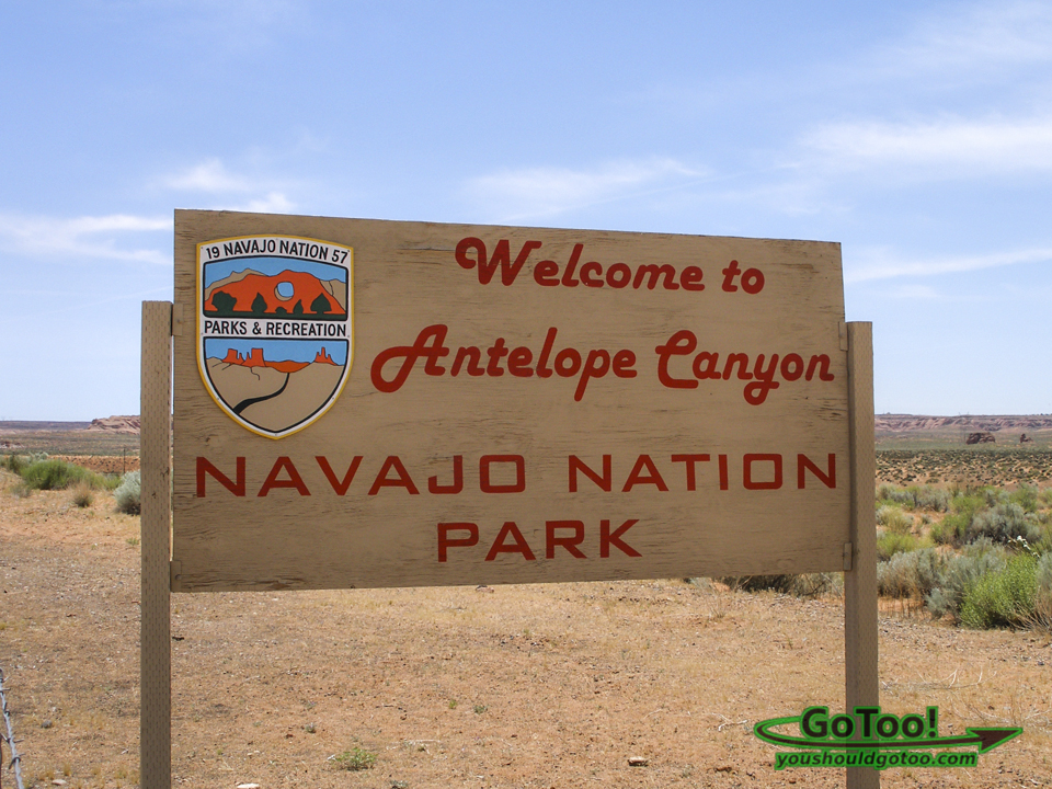 Navajo Nation Park Welcome Sign Lower Antelope Canyon