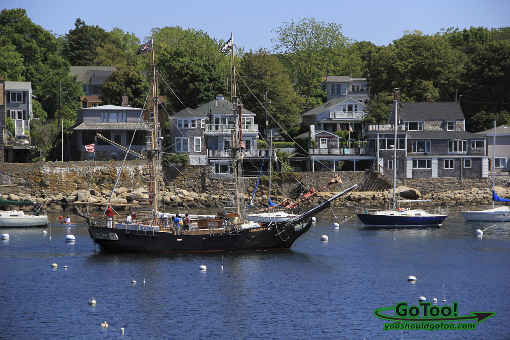 Sailboat and Homes in Rockport MA