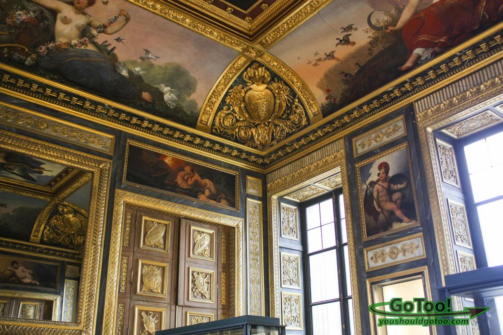 Gilded Ceiling Louvre Museum Paris France