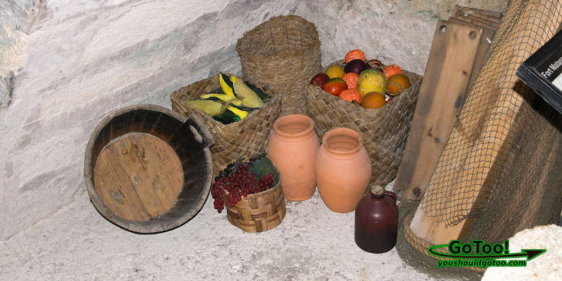 Display of Early Spanish Settlers Baskets Food Supplies