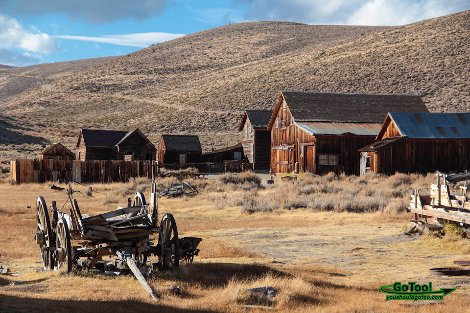 Ghost Town Bodie CA Buildings and Wagon